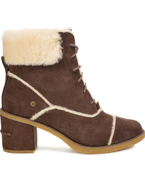 UGG Women's Esterly Lace Up Heeled Boots , Brown, hi-res