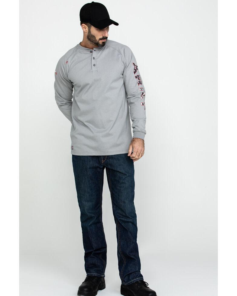Ariat Men's FR Liberty Logo Long Sleeve Work Shirt - Big, Silver, hi-res