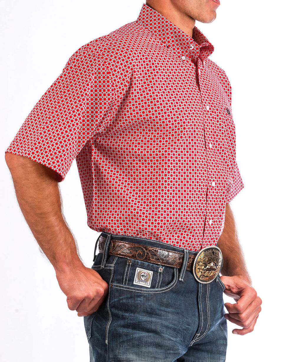 Cinch Men's Red Link Short Sleeve Button Down Shirt, Red, hi-res