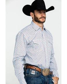Wrangler 20X Men's Advanced Comfort Light Blue Geo Print Long Sleeve Western Shirt , Light Blue, hi-res