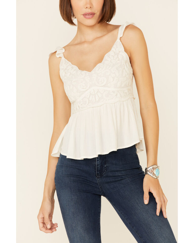 Shyanne Women's Embroidered Flutter Short Sleeve Top , Off White, hi-res