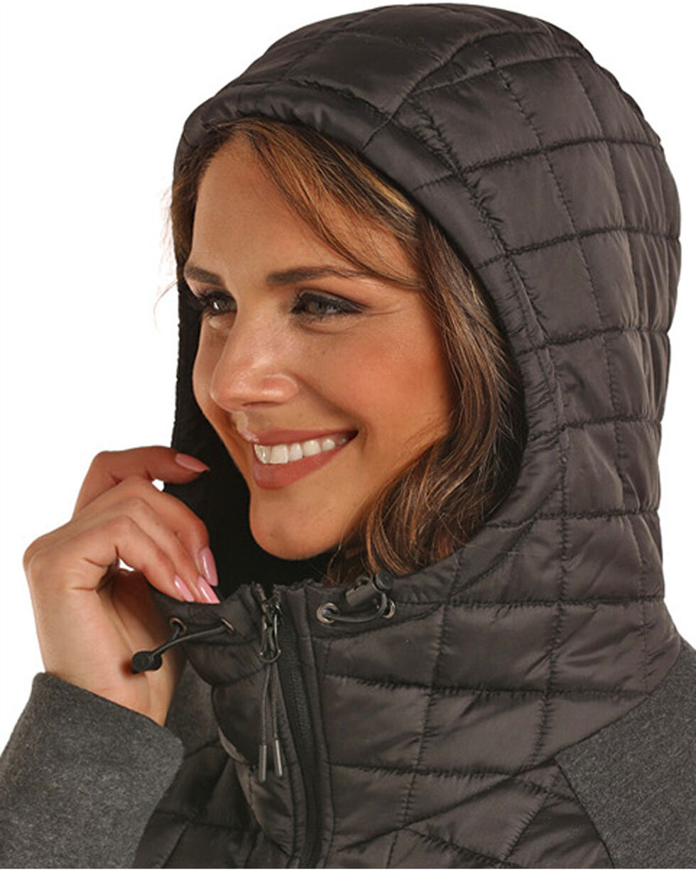 Powder River Women's Black Mixed Media Quilted Jacket , Black, hi-res