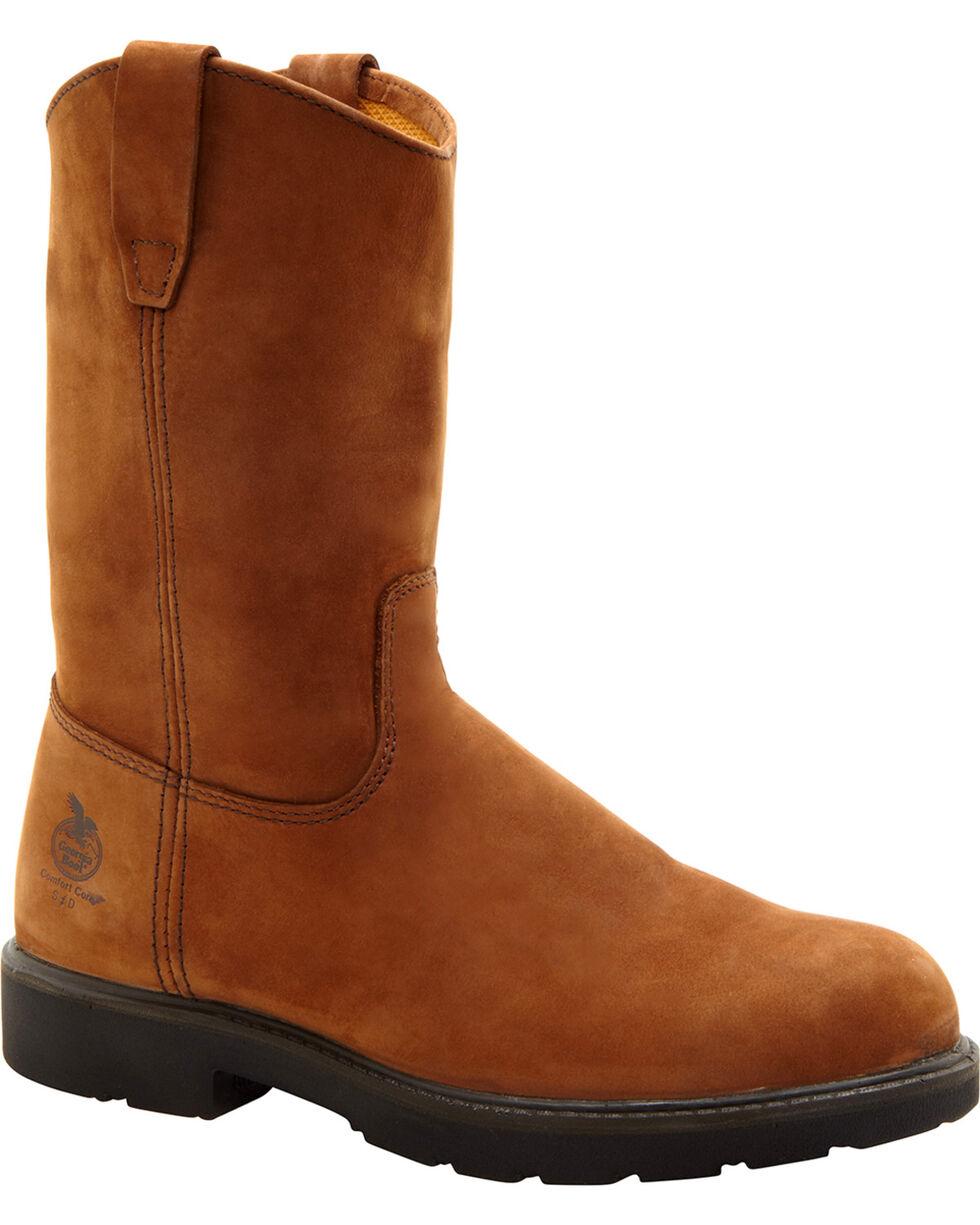 Georgia Men's Wellington CC Steel Toe Work Boots, Brown, hi-res