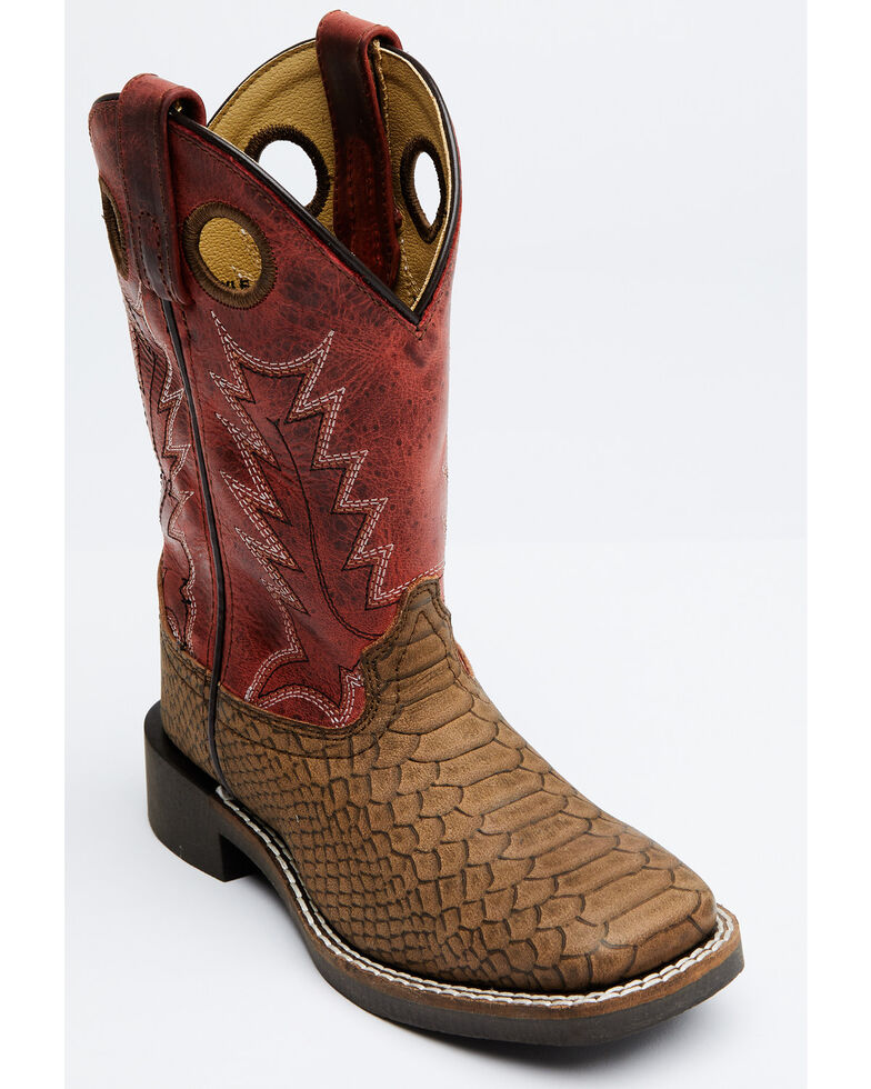 Cody James Boys' Red Reptile Print Western Boots - Wide Square Toe, Red/brown, hi-res