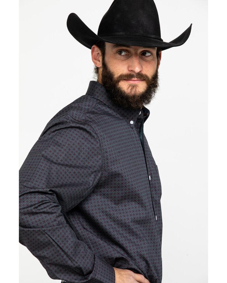 Cody James Core Men's Gyro Geo Print Long Sleeve Western Shirt , Burgundy, hi-res