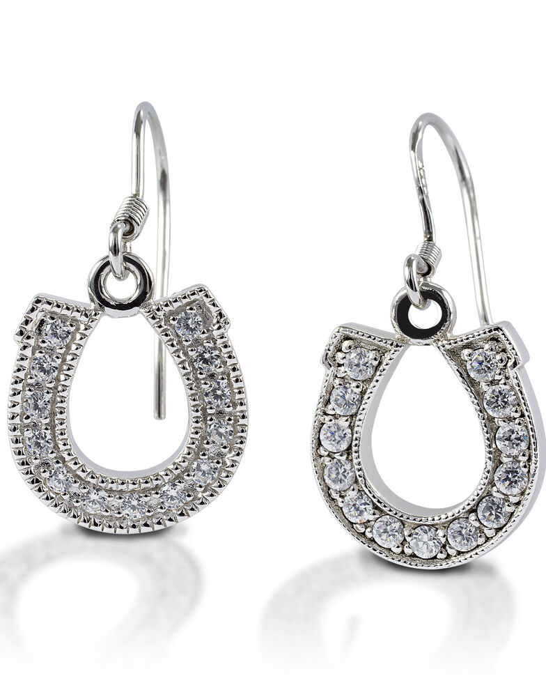 Kelly Herd Women's Dangle Horseshoe Earrings, Silver, hi-res