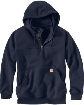 Carhartt Rain Defender Paxton Hooded Zip Mock Sweatshirt - Big & Tall, Navy, hi-res