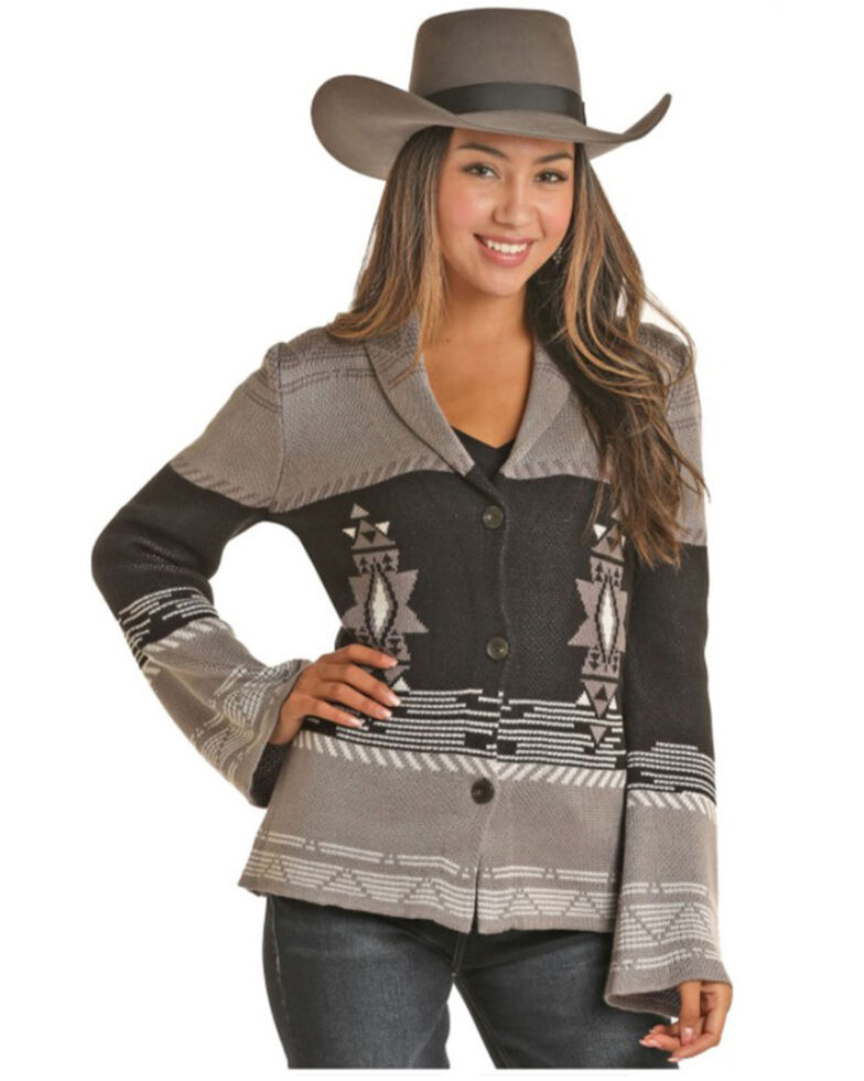Powder River Outfitters Women's Stagecoach Aztec Print Button Front Sweater, Black, hi-res