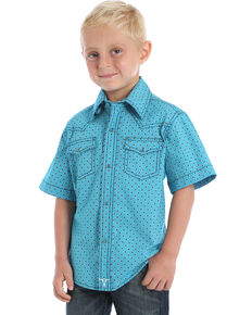 Wrangler 20X Boys' Geo Print Advanced Comfort Short Sleeve Western Shirt , Turquoise, hi-res
