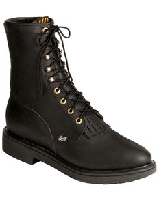 Justin Men's Lace Up Work Boots, Black, hi-res
