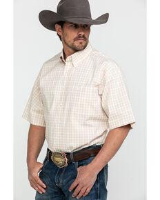Cinch Men's Khaki Small Plaid Short Sleeve Western Shirt , Beige/khaki, hi-res