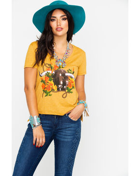 Rodeo Quincy Women's Poppy The Steer Scoop Neck Tee , Dark Yellow, hi-res