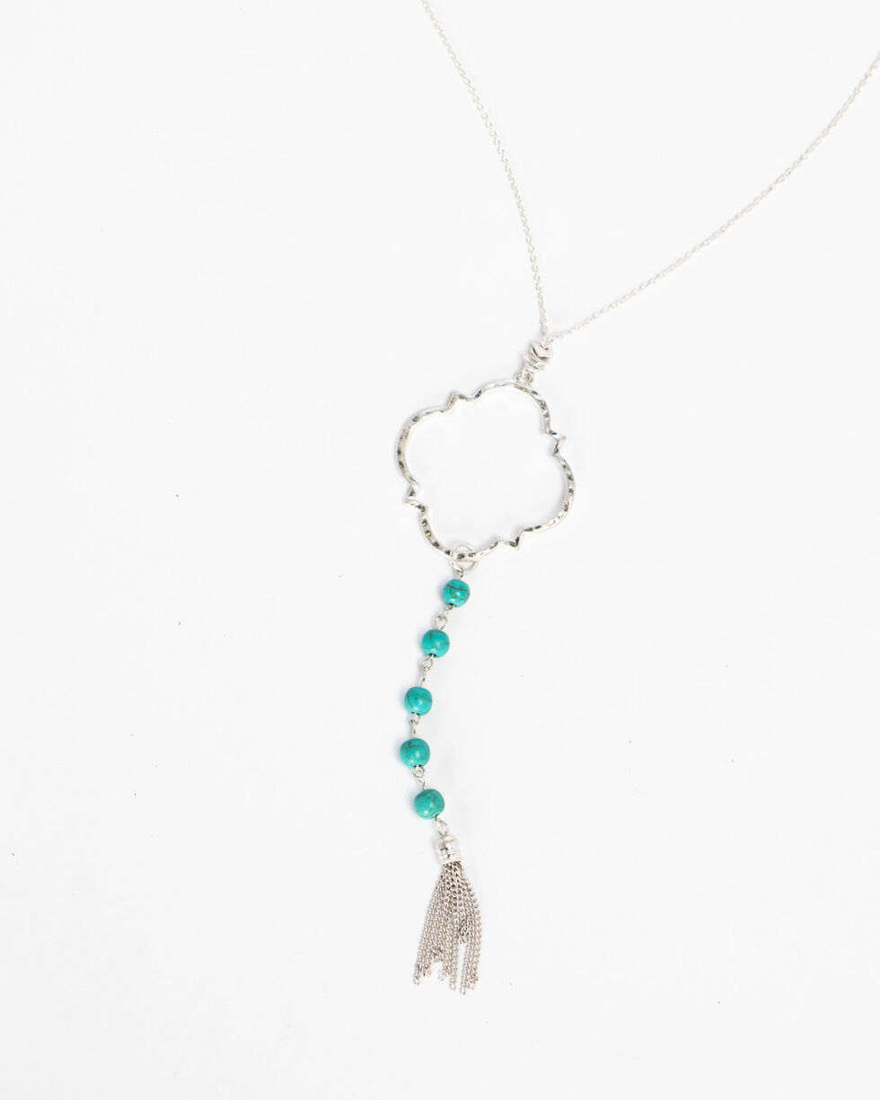 Shyanne Women's Turquoise Tassel Charm Beaded Necklace, Silver, hi-res
