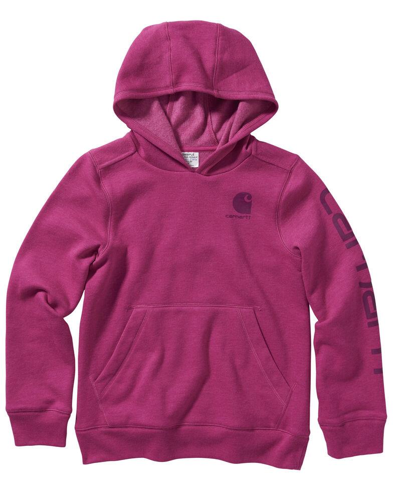 Carhartt Girls' Very Berry Heather Fleece Logo Sweatshirt , Pink, hi-res