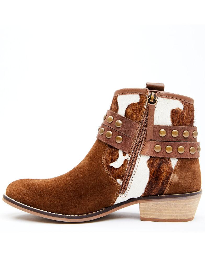 Shyanne Women's Raelynn Fashion Booties - Round Toe, Brown, hi-res