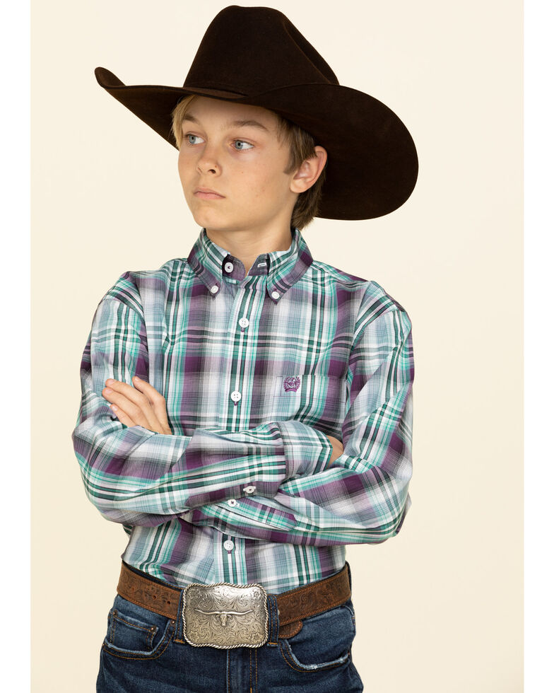 Cinch Boys' Multi Plaid Button Down Long Sleeve Western Shirt , Multi, hi-res