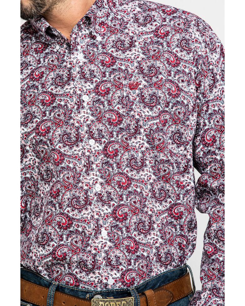 Cinch Men's White Floral Paisley Print Long Sleeve Western Shirt , White, hi-res