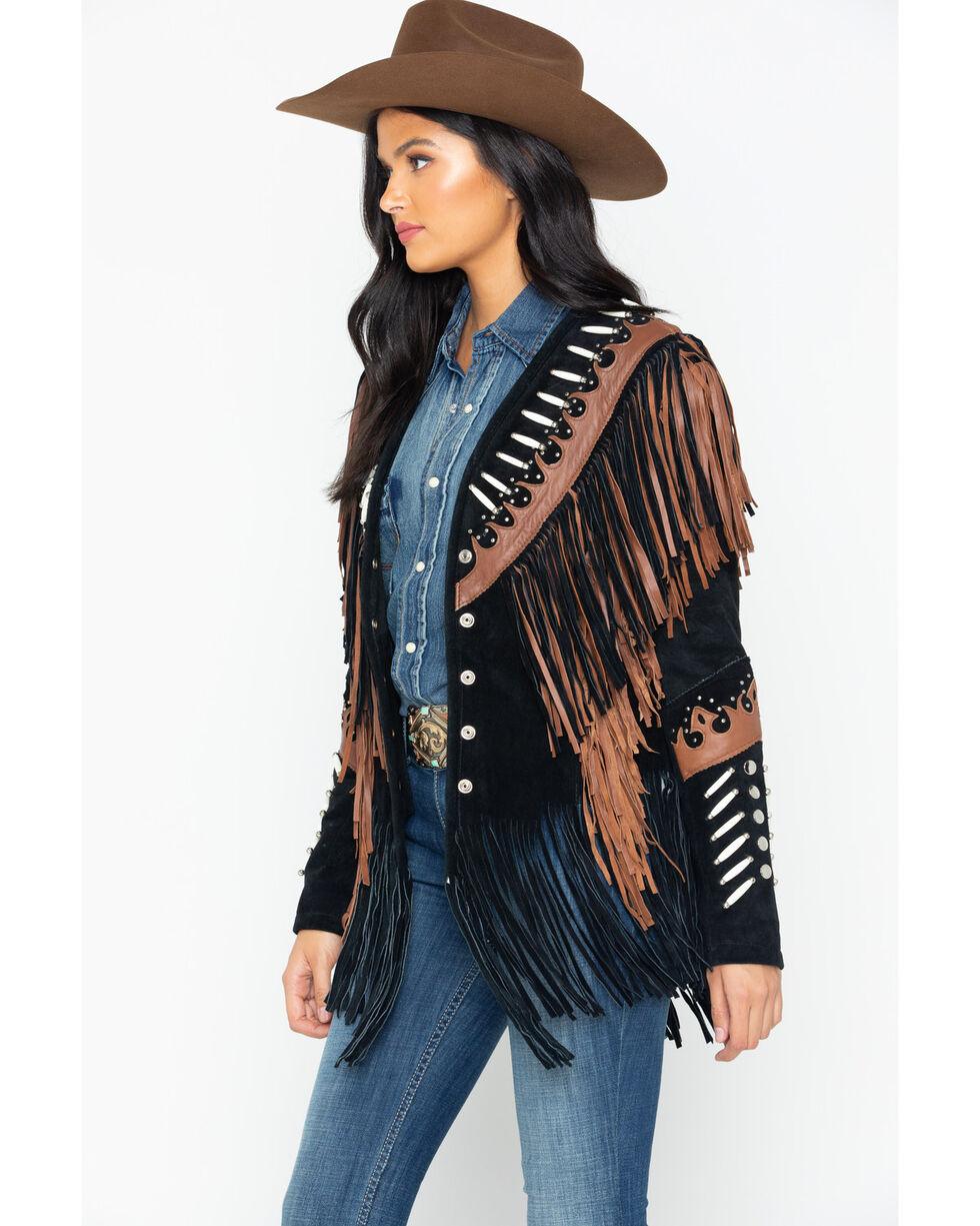 Liberty Wear Black Fringe Leather Jacket, Black, hi-res