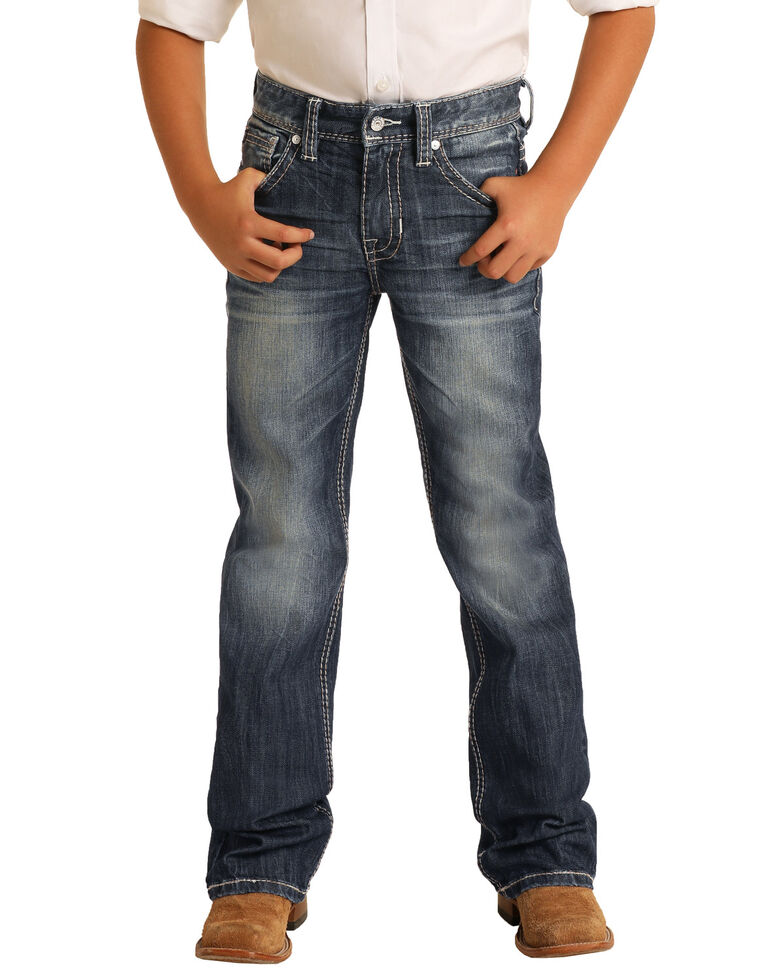 Rock & Roll Denim Boys' Dark Vintage Stretch Regular Bootcut Jeans , Indigo, hi-res