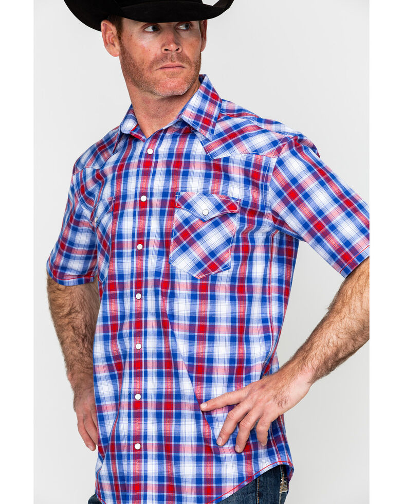 Rough Stock By Panhandle Oak Creek Vintage Ombre Plaid Short Sleeve Western Shirt , Blue, hi-res