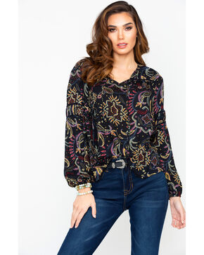 Miss Me Women's Paisley Print Elastic Cuff Tie Neck Long Sleeve Top , Navy, hi-res