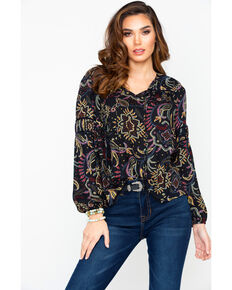 c23b5081de91c Miss Me Women s Paisley Print Elastic Cuff Tie Neck Long Sleeve Top