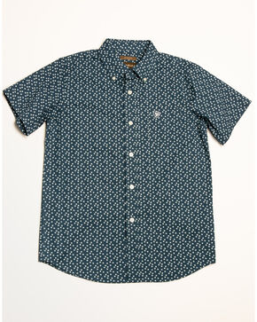 Ariat Boys' Hatchell Stretch Geo Print Short Sleeve Western Shirt , Blue, hi-res