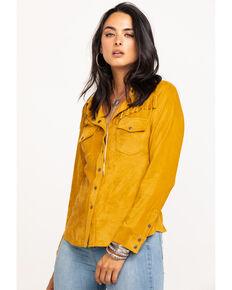 Shyanne Life Women's Faux Suede Fringe Long Sleeve Western Shirt, Dark Yellow, hi-res