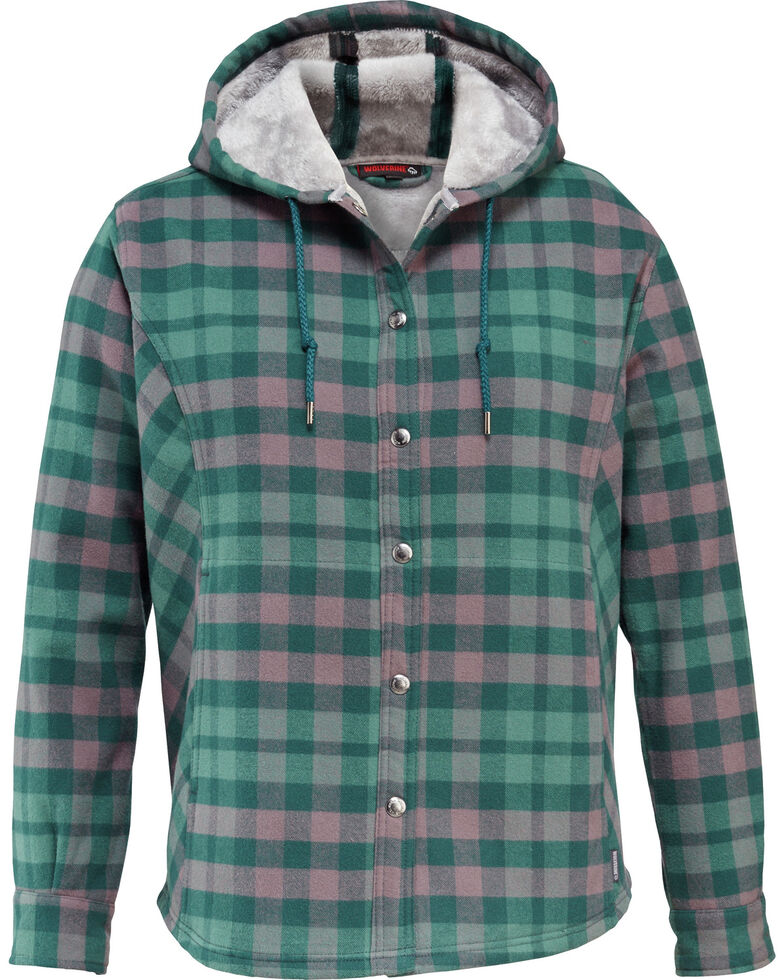 Wolverine Women's Cheyenne Bonded Sherpa Shirt Jac, Kelly Green, hi-res