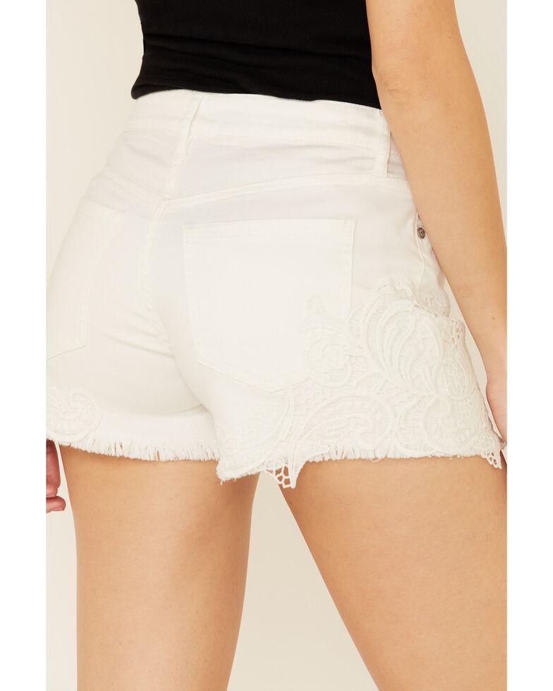 Shyanne Women's White Crochet Lace Short Shorts, White, hi-res