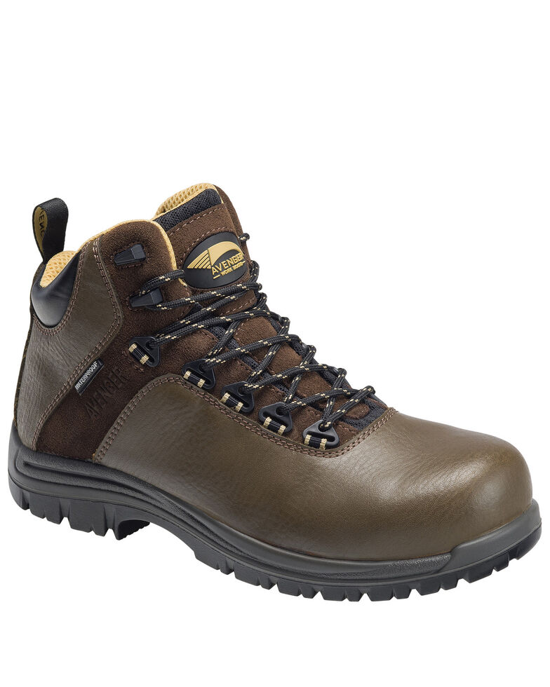Avenger Men's Brown Breaker Work Boots - Composite Toe, Brown, hi-res