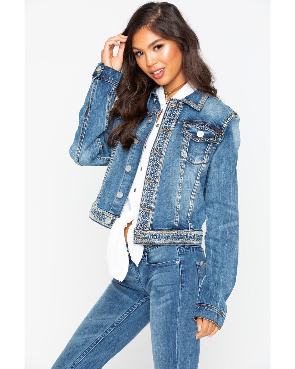 Grace in LA Women's Denim Embroidered Jacket , Indigo, hi-res