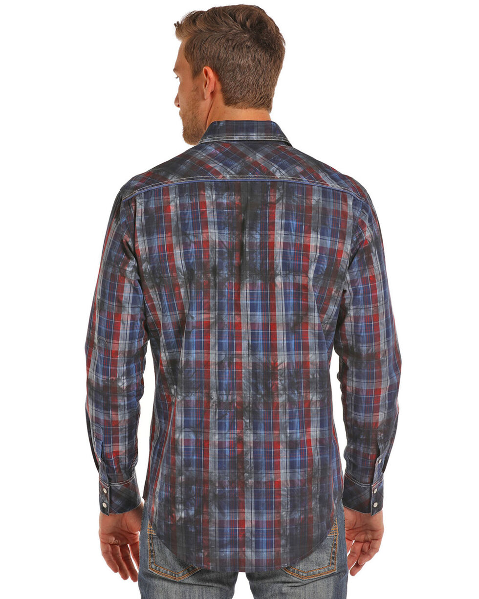 Rock & Roll Cowboy Men's Indigo Spray Wash Plaid Shirt , Red, hi-res