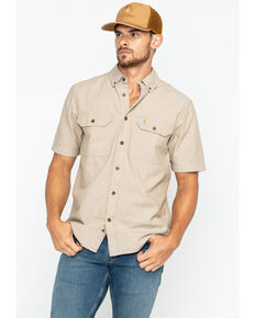 Carhartt Men's Fort Solid Short Sleeve Work Shirt - Big & Tall, Tan, hi-res