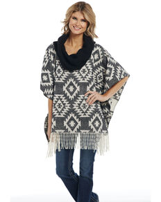 Cripple Creek Women's Aztec Navajo Blanket Knit Fringe Cowl Poncho , Black, hi-res