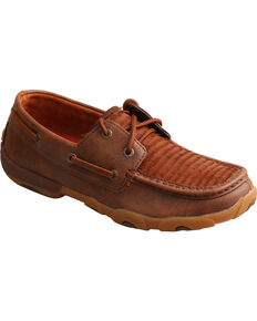 Twisted X Women's Layered fringe Driving Moc Shoes, Brown, hi-res