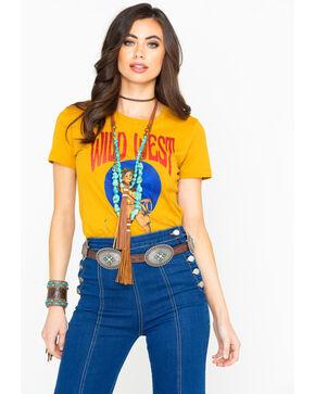 Cowgirl Up Women's Mustard Wild West Rodeo Graphic Tee, Dark Yellow, hi-res