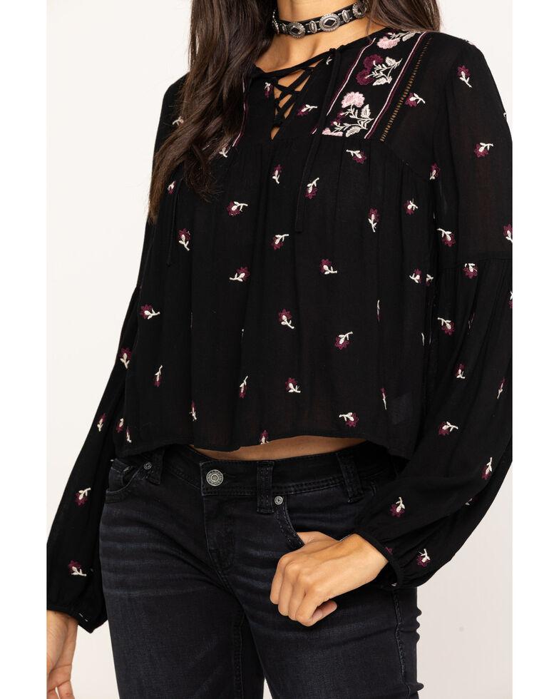Fae & Francine Women's Black Floral Embroidered Lace Up Peasant Top, Black, hi-res