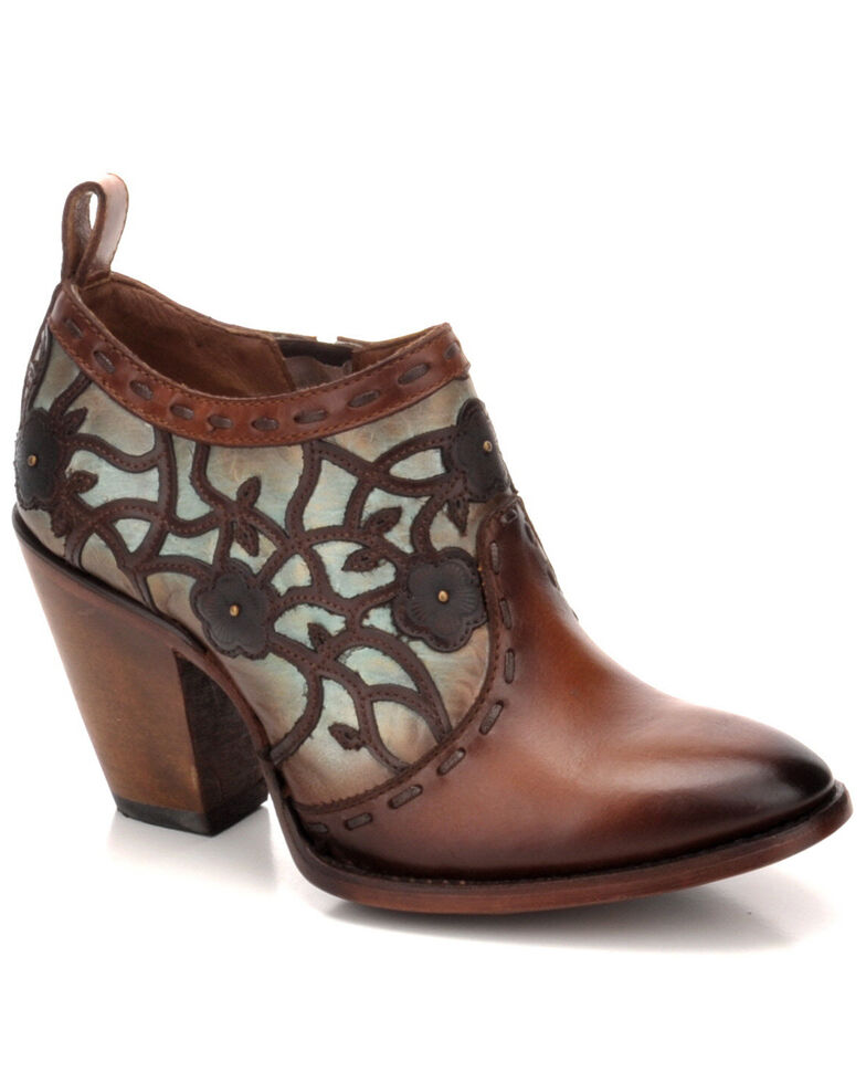 Corral Women's Turquoise & Gold Overlay Embroidered Western Fashion Booties - Round Toe, , hi-res