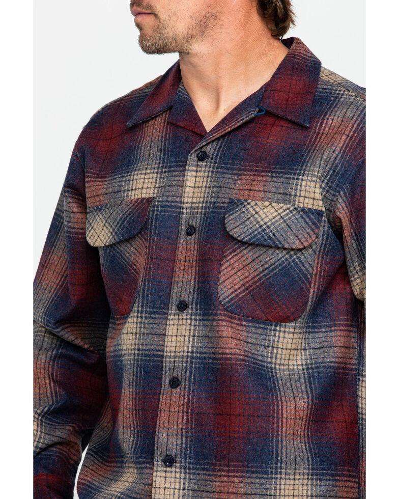 Pendleton Men's Original Board Long Sleeve Flannel Shirt Jacket, Dark Red, hi-res