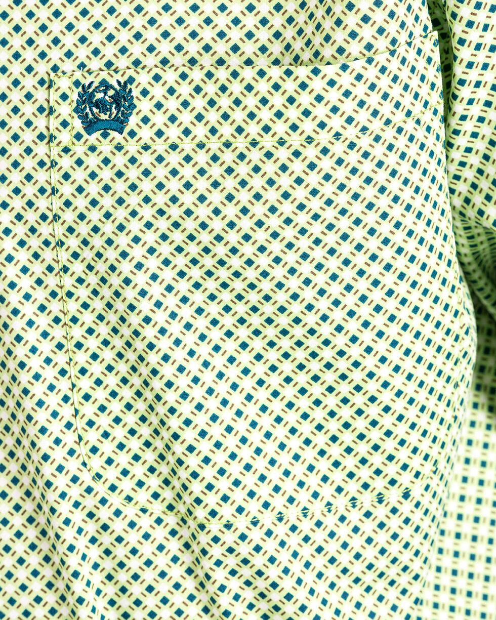 Cinch Men's Lime Print Long Sleeve Western Shirt , Light Green, hi-res