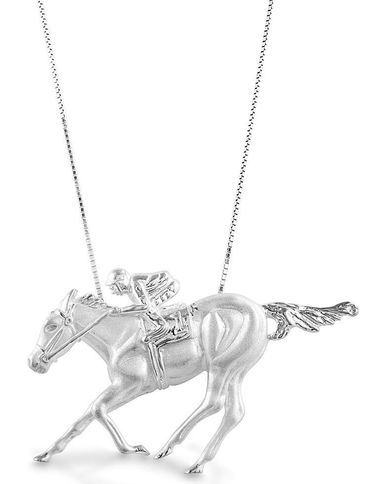 Kelly Herd Women's Race Horse & Jockey Necklace, Silver, hi-res