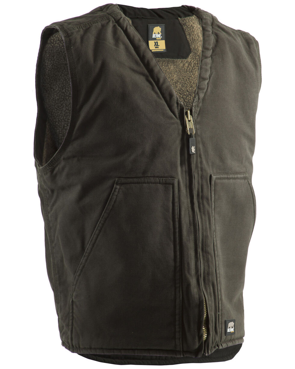 Berne Washed V-Neck Vest - 3XL and 4XL, Moss, hi-res