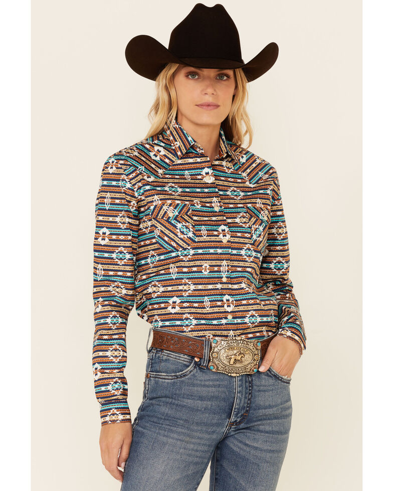 Rough Stock By Panhandle Women's Multi Aztec Stripe Long Sleeve Snap Western Core Shirt , Rust Copper, hi-res
