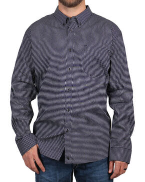 Cody James® Men's MGM Geo Print Long Sleeve Western Shirt, Black, hi-res