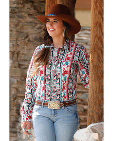 Cruel Girl Women's Floral Stripe Long Sleeve Western Shirt, Red, hi-res