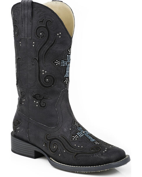 Roper Women's Bling Crystal Cross Faux Leather Western Boots, Black, hi-res