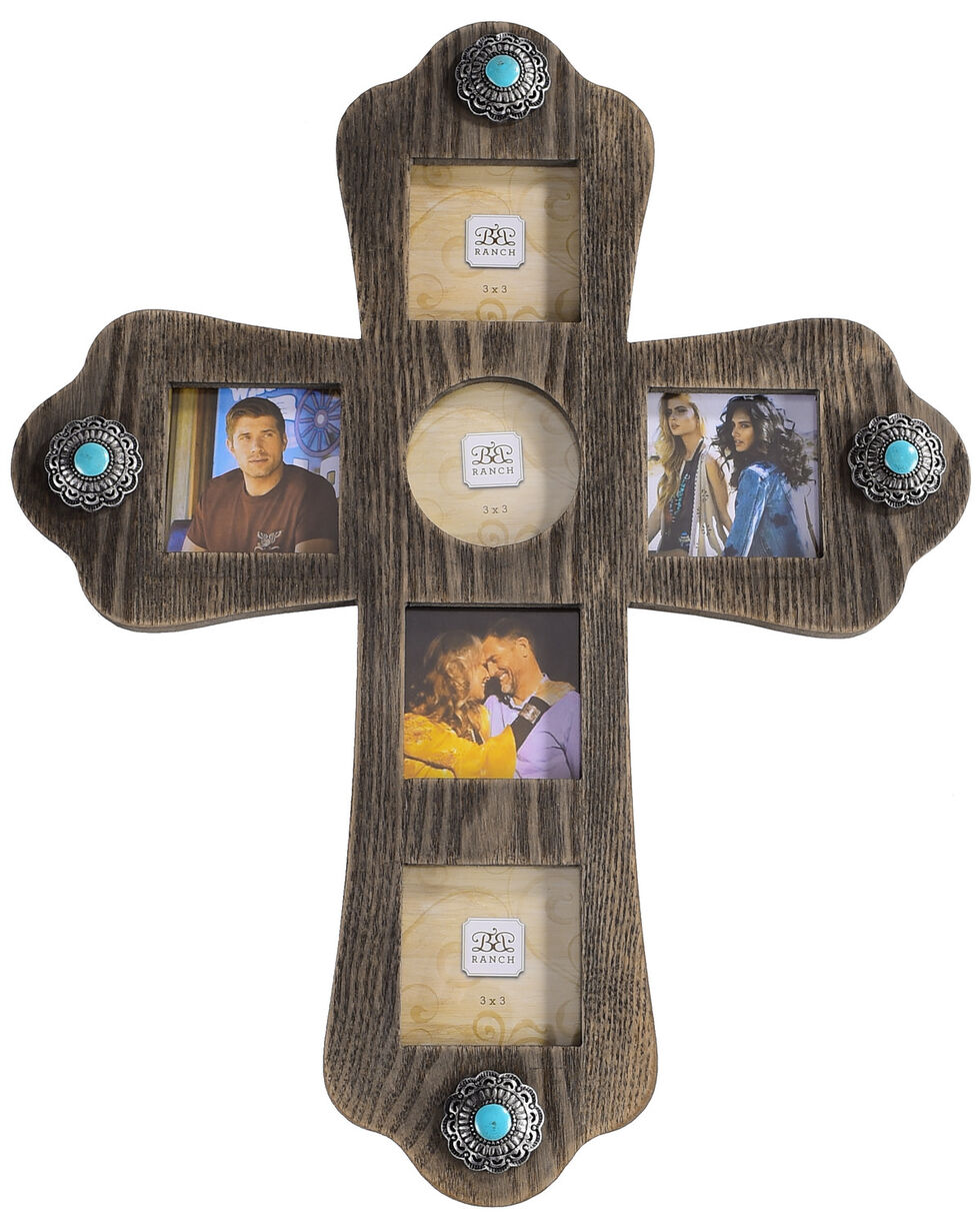BB Ranch Cross Multi Photo Wall Frame, Turquoise, hi-res