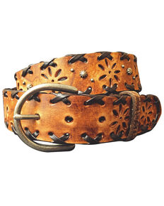 Cowgirls Rock Women Floral Cutout Laced Edge Distressed Leather Belt, Brown, hi-res
