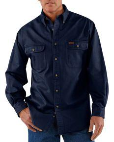 Carhartt Men's Sandstone Twill Regular Work Shirt, Midnight, hi-res